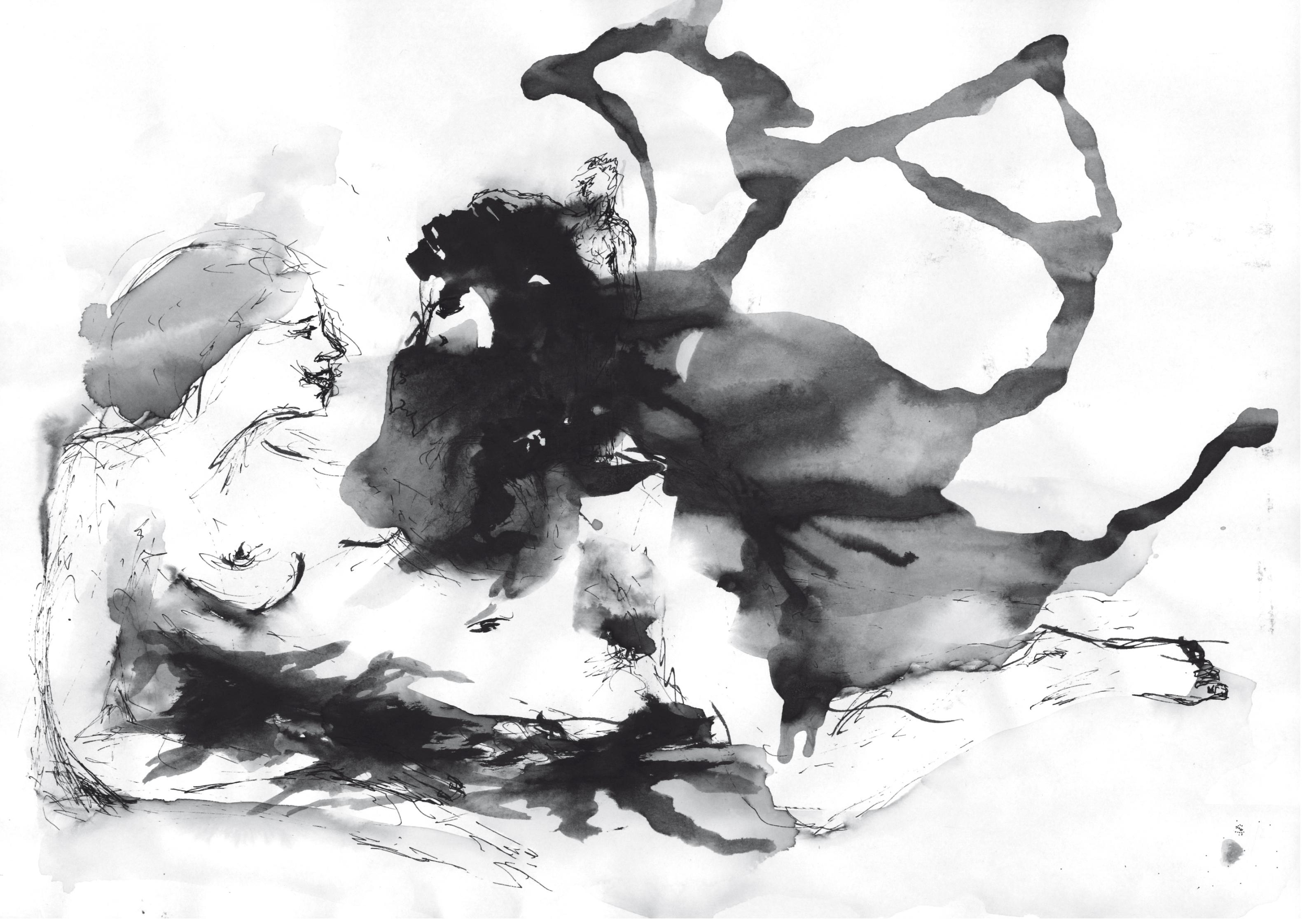 Illustration zu musik, tinte auf papier, 21 x 29, 2012